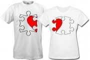 Парные футболки Сердце-на-пазле