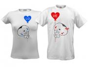 Парные футболки Love на шариках