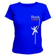 Женская футболка Альпинист на человеке