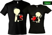 Комплект футболок для влюбленных Сердце на двоих  (Glow)