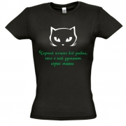 Женская футболка Черная кошка