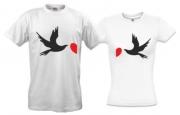 Парные футболки для влюбленных Голуби и сердце