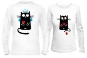 Кофты с котиками Кот - ангел и киса - дьявол