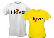 Пара футболок для влюбленных I love