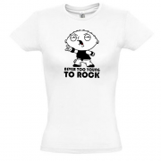футболка с рисунком Never too young to rock (Стьюи)