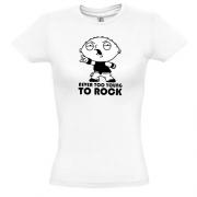 футболка с рисунком Never too young to rock (Стьюи)