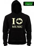 Капюшенка I love music (Glow)