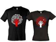 Парные футболки Дерево-с-сердцами