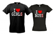 Парные футболки I love boy girl