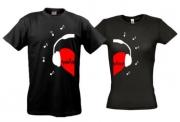 Парные футболки Сердце в наушниках (Black)