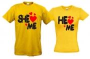 Комплект футболок She love me/He love me